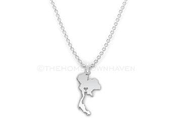 Thailand Necklace - Thailand charm necklace, Thailand map necklace, I Heart Thailand necklace
