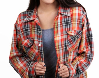 Flannel vintage red, navy blue, white, gray, plaid button up long sleeve oversized shirt Oshkosh B'gosh