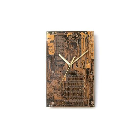Dark Yellow Large Wall Clock, Office Clock, Wall Clock, Circuit Board Clock, Unique Wall Clock, Unique Gift, Boyfriend Gift, Husband Gift,