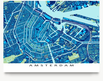 Amsterdam Art Print, Amsterdam Map, The Netherlands, Holland, Blueprint
