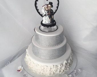 Halloween Wedding Cake Topper With Black Heart Skeleton Couple