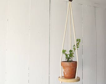 Wood & Cotton Hanging Planter SOLO 6'' - Hanging shelf - Hanging plant holder - Maple Wood - Hand Made in Canada -