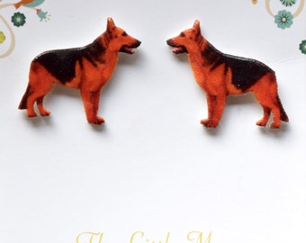 German Shepherd / Alsatian Fine Detail Sterling Silver 925 Stud Earrings