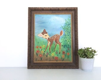 Vintage Bambi Oil on Canvas Amateur Painting in Solid Wood Frame