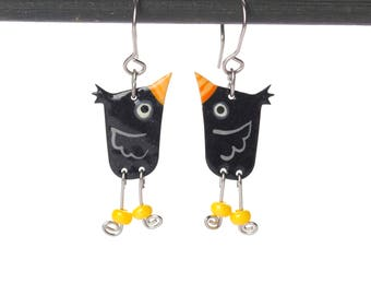 Funky Dangle Blackbird Earrings,Enameled Metal Stainless Steel Wired Bird Handpainted Patterns, Eccentric Jewelry, Playful Style, Funny Gift