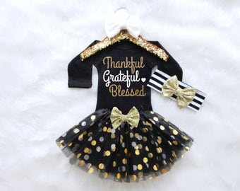 Thankful Grateful Blessed Baby Girl Outfit. Thanksgiving Baby Outfit. Thanksgiving Girls Outfit. Baby Girl First Thanksgiving.