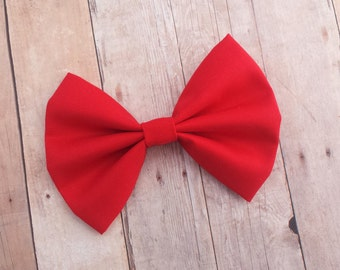 Strawberry Red Fabric Hair Bow Clip or Headband / Red Bow Headband / Red Fabric Bow / Red Bow Clip / Red Hair Bow / Solid Red Bow Clip