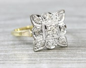 Art deco 1920s square shape ring in 18 carat gold and platinum antique UK
