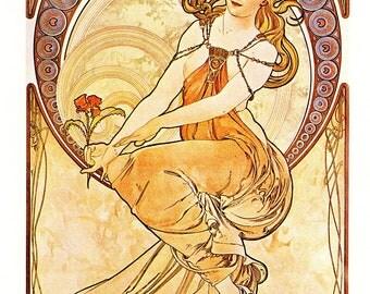"""Alphonse MUCHA 1976 Authentic Vintage Art Nouveau PRINT """"La Peinture"""""""