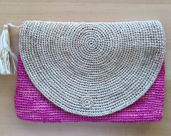 Raffia clutch bag, pink handbag, hobo, market bag, straw bag, boho bag, crochet bag, vintage bag, market bag, crochet bag, rattan bag, gift