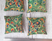 1:12 Scale Modern Miniature Scatter Cushions Throw Pillows Peacock Print Dolls Soft Furnishings Set of 2 Mini Pieces Doll House Room Box