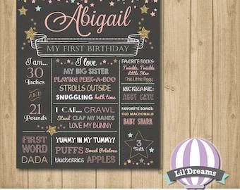 Twinkle Twinkle Little Star Chalkboard, Birthday, First Birthday Chalkboard Sign, 1st Birthday, Mint, Poster, Pink, Gold, Glitter, Star