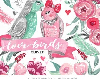 Love Birds Clip Art | Hand Drawn Shabby Chic Flowers hearts Romance Valentine's Graphics | Planner Stickers, Planner Girl | Digital Cliparts