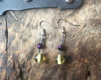 Wire Wrapped Honey Yellow Bead and Grape Purple Bead Earrings with Nickel Free Fishhooks