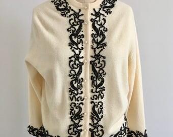 Vintage 1960s Cream Wool Seed Beaded Cardigan Sweater Mad Men M