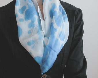 Hand Painted Long Silk Scarf in blue watercolor