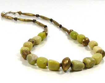 Necklace Lemonjade, long, 72 cm, African beads, African syle