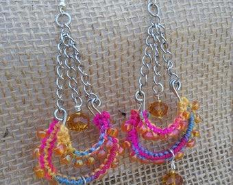 Bollywood Inspired Chandelier Earrings, Handmade, Colorful,