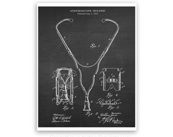 Stethoscope Patent art print #2  with Chalkboard background - medical student graduation gift- gift for nurse - doctor's waiting room decor