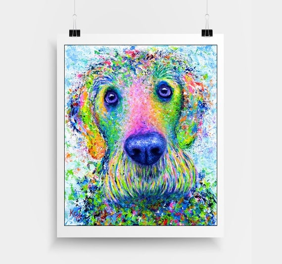 "Golden Doodle Art Print - Print of My Dog Painting ""Izzy"", Colorful Dog Art, Dog Wall Art, Dog Art Print, Doggie, Golden-Doodle Dog Portrait"