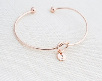 Rose Gold Love knot Bracelet,Tie the knot bracelet, Initial Bracelet, Stacking Bracelet, Monogram Bracelet, Gift Idea, Rose gold bracelet