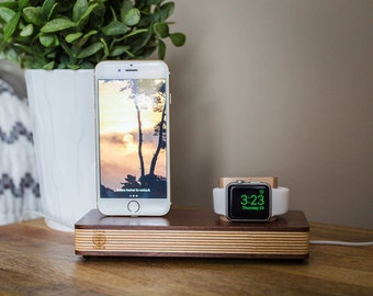 Iwatch dock, Wooden Apple Watch Stand, Iphone Docking Station, Apple Watch Docking Station, IPhone Docking Charging Stand, Iphone Stand.