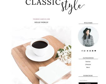 "Blogger Template Mobile Responsive - Instant Digital Download - Complete Blog Design -""Classic Style"""