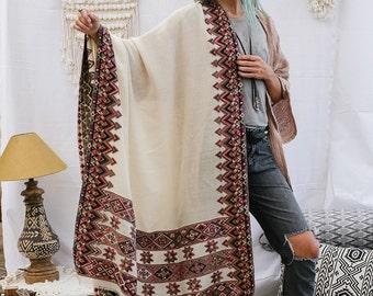 Off White Indian Shawl Wrap, Handmade Embroidered Shawl, Wool Shawl Scarf, Tribal Shawl,Large Shawl,Winter Fashion Accessories