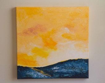 Impressionist landscape painting, acrylic painting, sky painting, yellow art, blue art, square canvas art, 18x18 canvas art