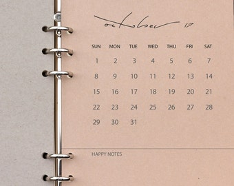Filofax Calendar Inserts - A5 / Kikki K Large 2017 / 2018 Monthly Cover Pages PRINTED on 'buff' OR 'eco grey' recycled Kraft paper