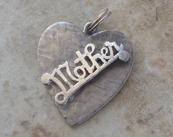 Vintage Sterling Silver Mother Heart Charm