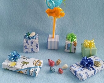 Beach Birthday Party - Balloons and Presents (1/12th Dollhouse scale)