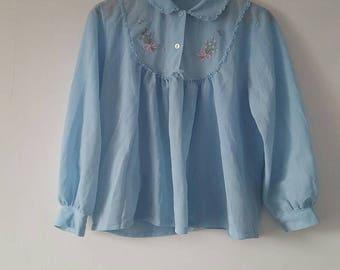 1970's brushed nylon bed jacket/blouse