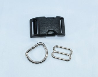 Adjustable Buckle Dog Collar Hardware Kit - D rings - Slides - Buckle