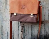 Men messenger bag - canvas bag - canvas laptop bag - leather canvas bag - canvas leather bag - canvas briefcase - brown leather laptop bag