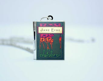 Jane Eyre Book Cover Locket Library Charm by Charlotte Bronte Jewelry Jewellery Literary Gifts Necklace Keychain Bookmark with Library Card