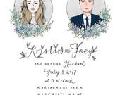 Custom Illustrated Invitation Suite with Envelope Liners