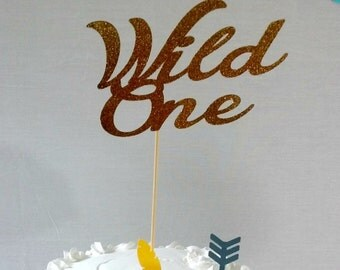 Wild One Cake Topper - Tribal party - Aztec - Party Supplies - gold