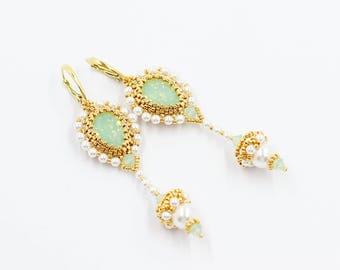 White pearl earrings Drop earrings Tassel earrings Swarovski crystal earrings Elegant earrings for sensitive ears Bridal shower gift for her