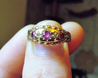 SALE###Genuine Ruby and Diamond Victorian style solid gold ring size 7.5