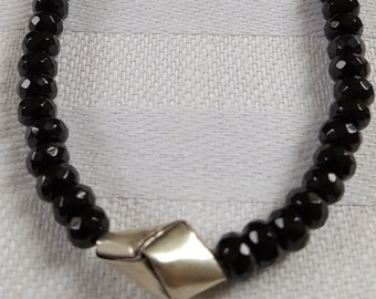 Faceted Onyx with silver