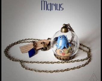 Bijoux Collier mini-terrarium en verre - Marius le poulpo'moustache  -