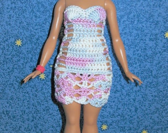 Doll clothing white crochet dress. Doll's clothes strapless beach dress for Barbie curvy. Fashion for dolls openwork outfit. Moxie Teenz.