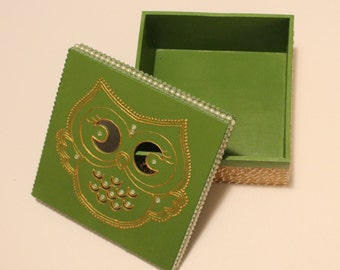 Green and Gold Owl Jewelry Box
