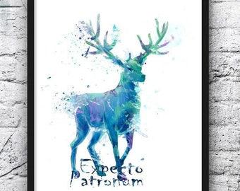Harry Potter Watercolor Art, Hogwarts Castle, Deer, Expecto Patronum, Movie Poster, Home Decor, Kids Room Decor, Nursery, Wall Art - 719