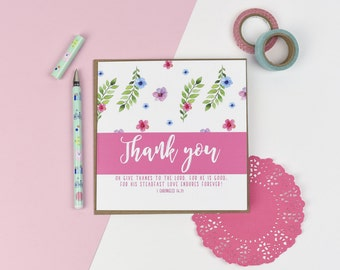Thank you Luxury card - Floral card - Christian card
