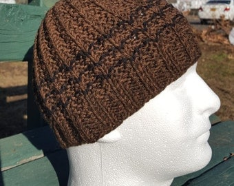 men's hats, brown hats for men, men's winter hats, wool hats, brown knit hats, ribbed brown beanie, knit mens hats, ski hats
