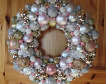 Keepsake Ornament Wreath - Pink and Silver Holiday Wreath,  Ornament Wreath, Christmas Ball Wreath