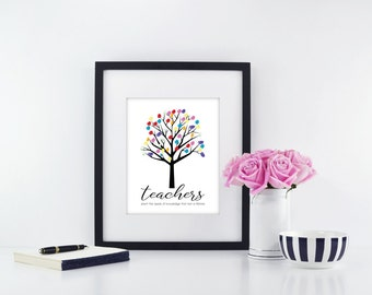 Teacher Fingerprint Tree | Teacher Fingerprint Tree Printable | Fingerprint Tree for Teacher | Fingerprint Tree Teacher Gift | Teacher Gift
