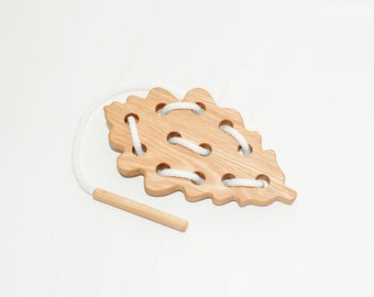 Wooden lacing oak leaf toy, Educational toy, Montessori toys, Organic toy, Toddler activity, Natural eco friendly, Learning sewing toys